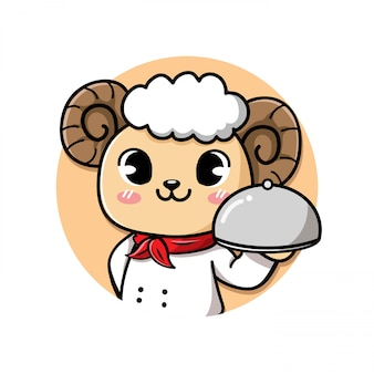 Cute and friendly sheep chef holds a delicious steak lamb meat dish.