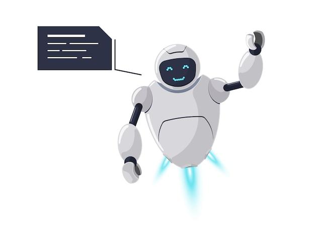 Симпатичный дружелюбный улыбающийся персонаж робота приветствует. футуристический белый талисман чат-бота и речевой пузырь. технический мультфильм онлайн-общение с ботами. роботизированный ai помощь разговор вектор изолированных иллюстрация