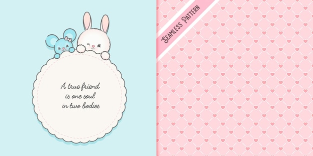 Cute friendship card template and hearts seamless pattern