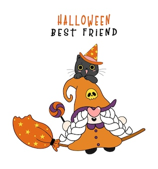 Cute friendship witch gnome and happy black cat halloween best friend cartoon character doodle