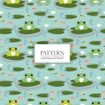 귀여운 개구리와 친구 원활한 패턴 / 배경