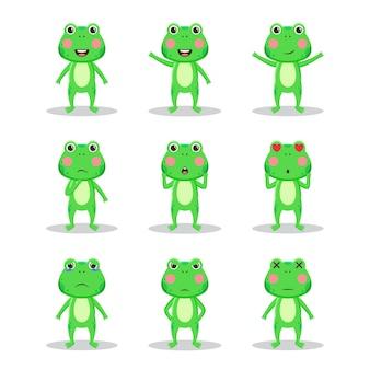 Набор персонажей милой лягушки