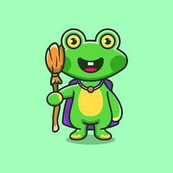 Cute frog carrying flying broom