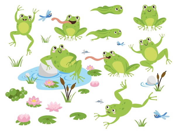 Cute frog cartoon characters illustrations set
