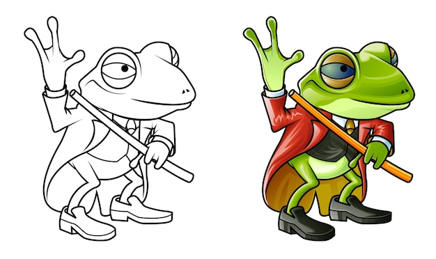 Cute frog cartoon coloring page for kids