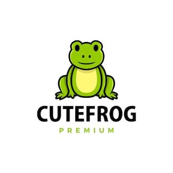 Cute frog cartoon logo  icon illustration