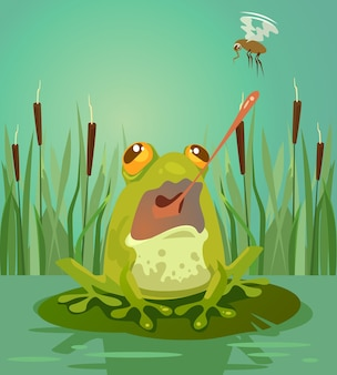 かわいいカエルのキャラクターが蚊を狩ります。ベクトルフラット漫画イラスト