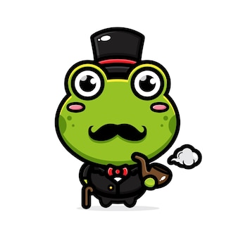 Cute frog in classic style Premium Vector