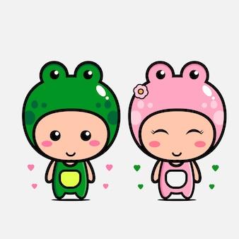 愛のかわいいカエルカップルキャラクター