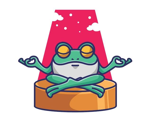 Милая лягушка делает медитацию йоги. мультфильм животных природа концепция изолированных иллюстрация. плоский стиль, подходящий для дизайна стикеров, иконок премиум-логотипов. талисман