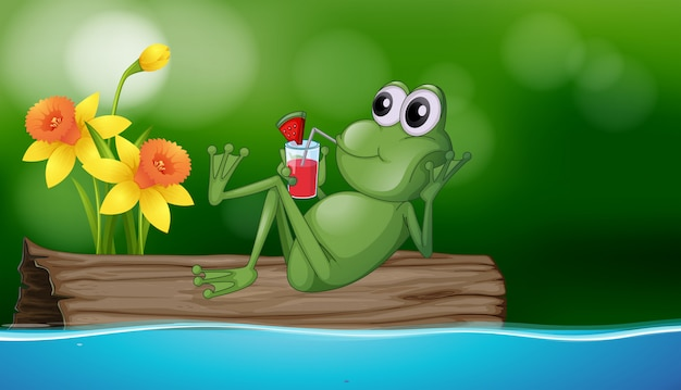 Cute frog drinking juice on the log