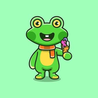 Cute frog eating ice cream illustration