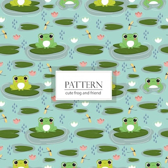 Cute frog and friend seamless pattern/background