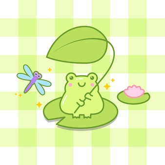 Cute frog hold a leaf with dragonfly cartoon illustration