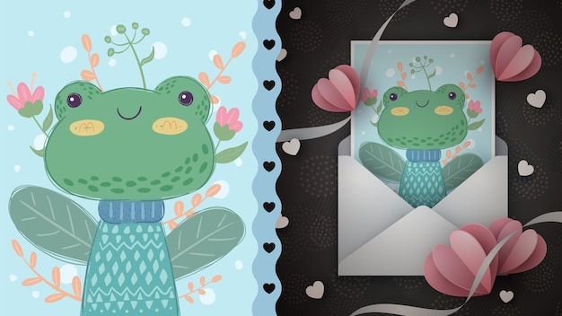 Cute frog - idea for greeting card.
