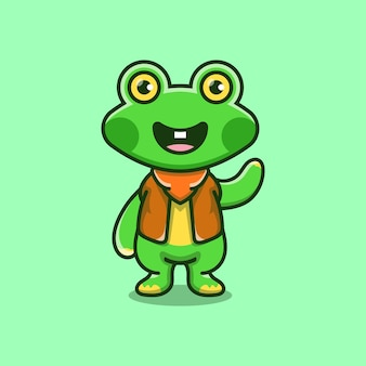Cute frog illustration wearing cowboy clothes