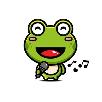 Милая лягушка радостно поет