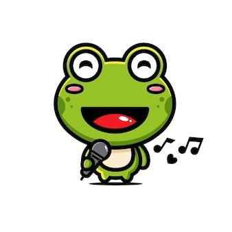 Cute frog is singing happily