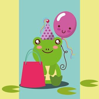 Cute frog and kawaii balloon gift bag