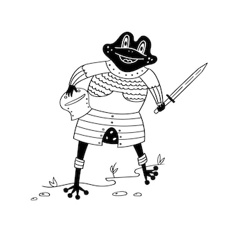 Cute frog knight in armor with a sword. black and white vector funny character