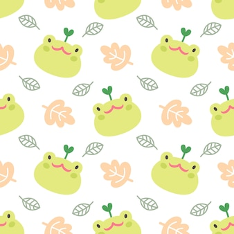 Cute frog and leaf seamless pattern background
