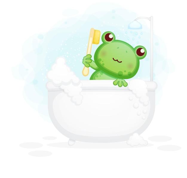 浴槽の漫画イラストで横たわっているかわいいカエル