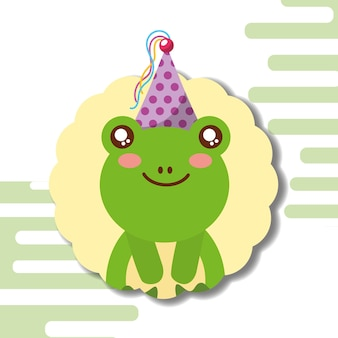 Cute frog party hat decoration label