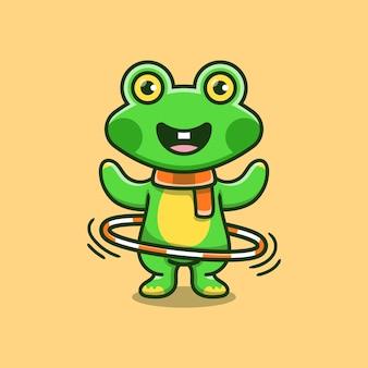 フラフープをしているかわいいカエル