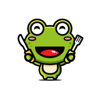 Cute frog ready to eat