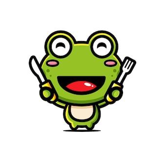 귀여운 개구리 먹을 준비가
