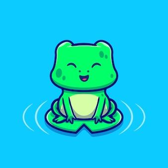 葉の漫画アイコンイラストに座っているかわいいカエル。動物愛アイコンコンセプトプレミアム。漫画のスタイル