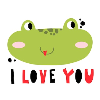 Cute frog smiling face with vector lettering
