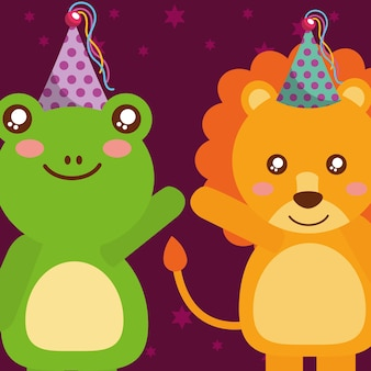 Cute frog and tiger animals funny celebration