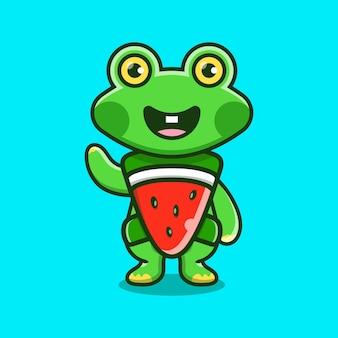 Cute frog wear costume watermelon