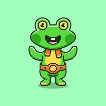 귀여운 개구리가 권투 경기에서 이겼습니다.