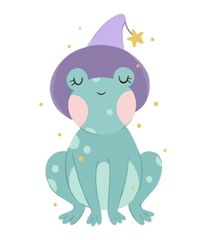 Cute frog with a magical purple hat and star kids print