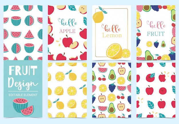 Cute fruit card collection set with apple, grape, kiwi, avocado, lemon vector illustration