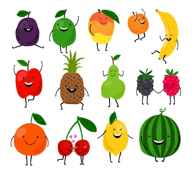 Cute fruit characters for kids