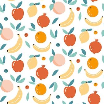 Cute fruit mix seamless pattern background design