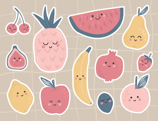 Cute fruit stickers with faces and funny characters. pear, lemon, peach, cherry, strawberry, plum, apple, pineapple, fig, watermelon, pomegranate. tropical food.