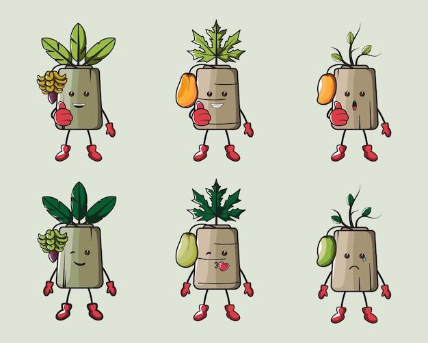 ロゴ、ポスター、アイコン、マスコットのためのかわいい果樹の楽しみ