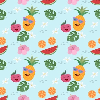 Cute fruit vector seamless pattern summer concept.