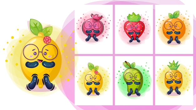 かわいいフルーティー漫画のキャラクターイラスト