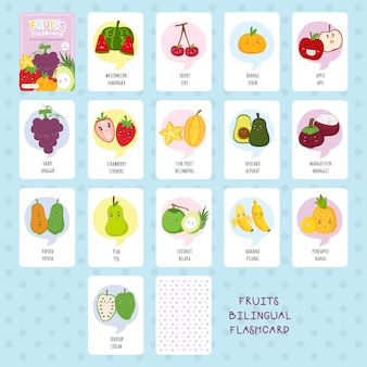 Cute fruits bilingual flashcard vector set