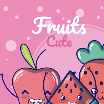 Cute fruits cartoons