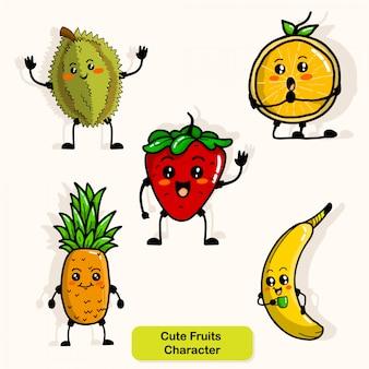 かわいい果物のキャラクター
