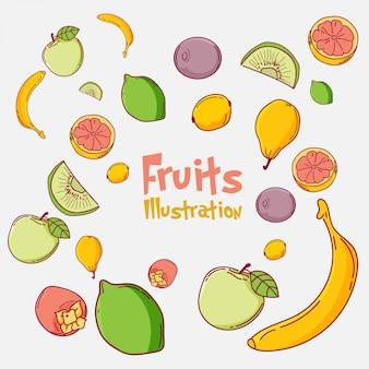 Cute fruits illustration set