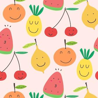 かわいいフルーツのパターンの背景。