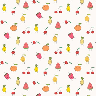 Cute fruits pattern background.