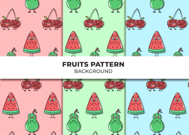 Cute fruits pattern vector